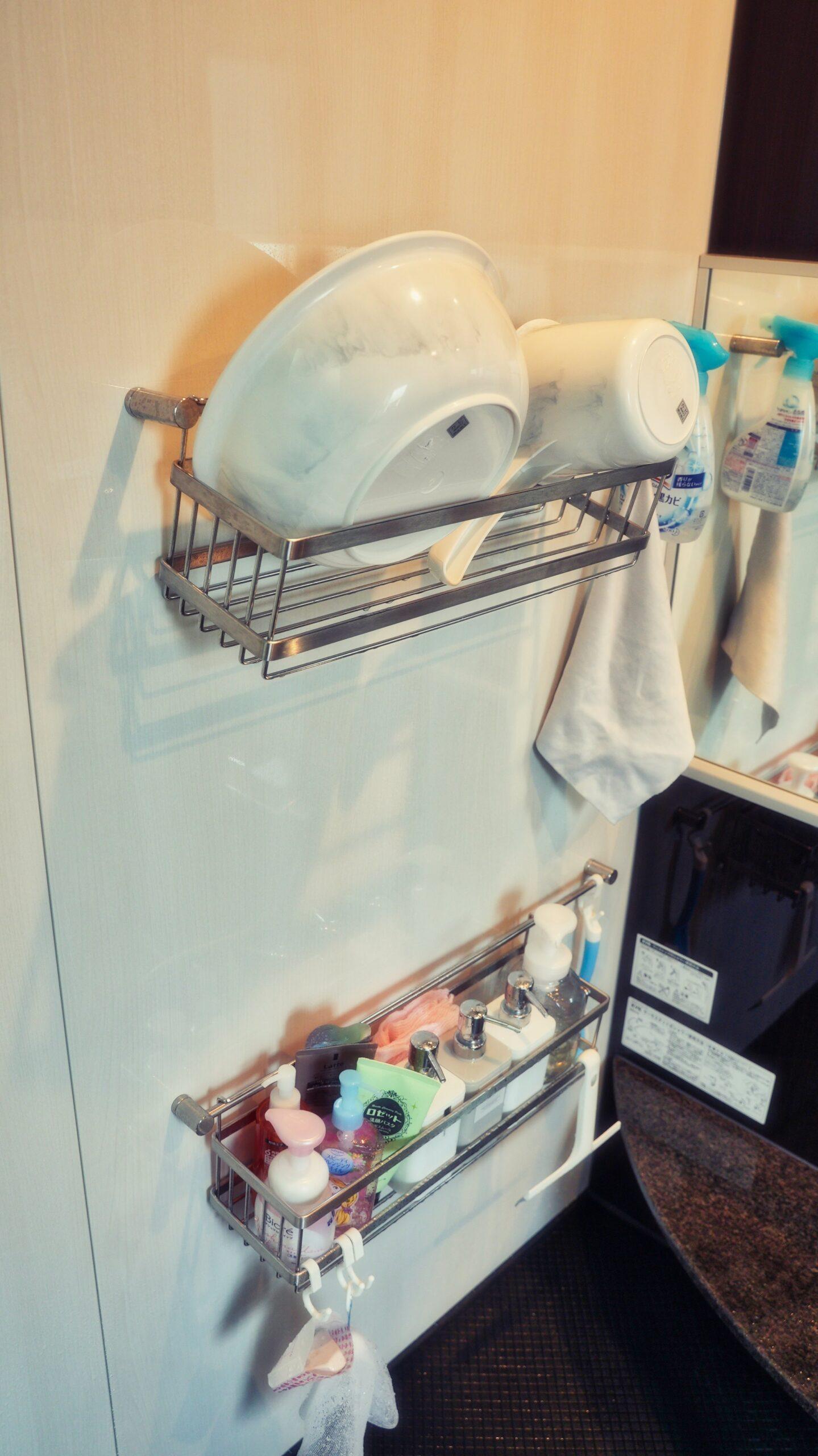 タオル掛けをシャンプー置きに